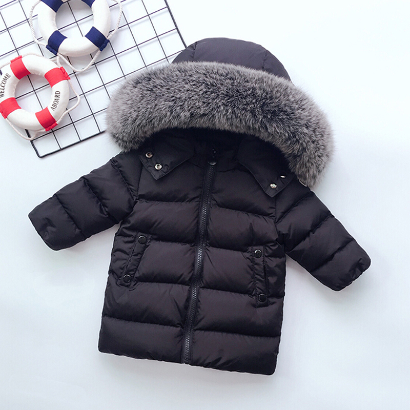 -30 Degree Kids Winter Coat Big Real Fur Collar Toddler Boys Girls Down Coat White Duck Down Children Down Jacket Snow Wear winter children 80% white duck down jacket boys girls warm real fur collar hooded snow coat parka kids thick outerwear coat e249