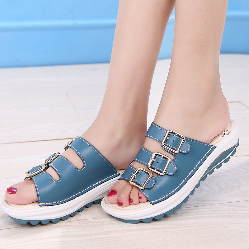 LAKESHI Casual Women Slippers Wedges Shoes Buckle Women Shoes Outside Slides Ladies Beach Shoes Summer Flat Slipper 2016 summer patent leather buckle slides for women fashion stone upper flat platform ladies casual beach slippers sandals shoes