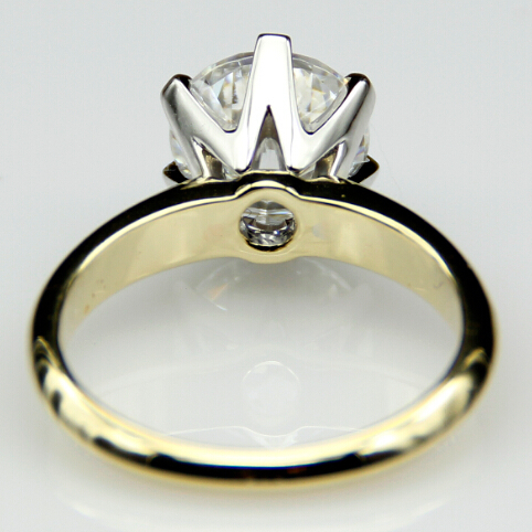 Two Tone Solid 9K Gold Classic Wedding Ring Of Name Brand 25ct