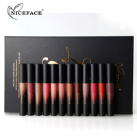 NICEFACE 12PCS Set Liquid Matte Lipstick Cosmetics Makeup Nude Lip Lipsticks Metallic Lip Gloss Stick Make