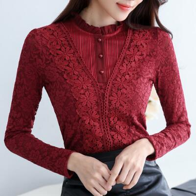 Social Women Autumn Elegant White Floral Lace Blouses Velvet Ladies Slim Shirts Work Tops Sweet Camisas Mujer A326 ...
