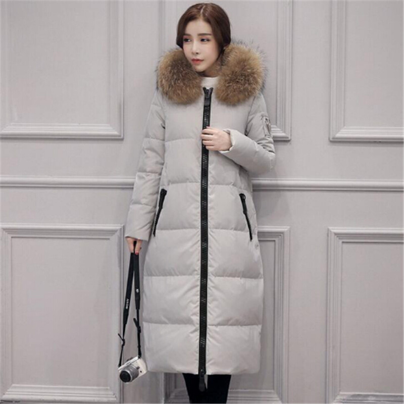 AILOOGE 2017 New Winter Fashion Black Overknee Long Section Warm Duck   Down     Coat   Women Loose Thick Hooded   down   jacket Collar