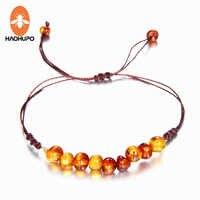 HAOHUPO 9 New Natural Amber Bracelets for Baby Women Turquiose Amethyst Strand Baltic Amber Beads Bracelet Handmade Baby Jewelry