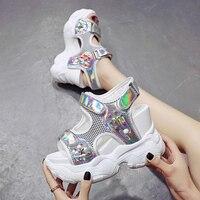Super High Platform Sandals Women Shoes 11.5cm Heels High Heel Sandals Open Toe Wedge Sandals Woman Glitter Shoes White/silver