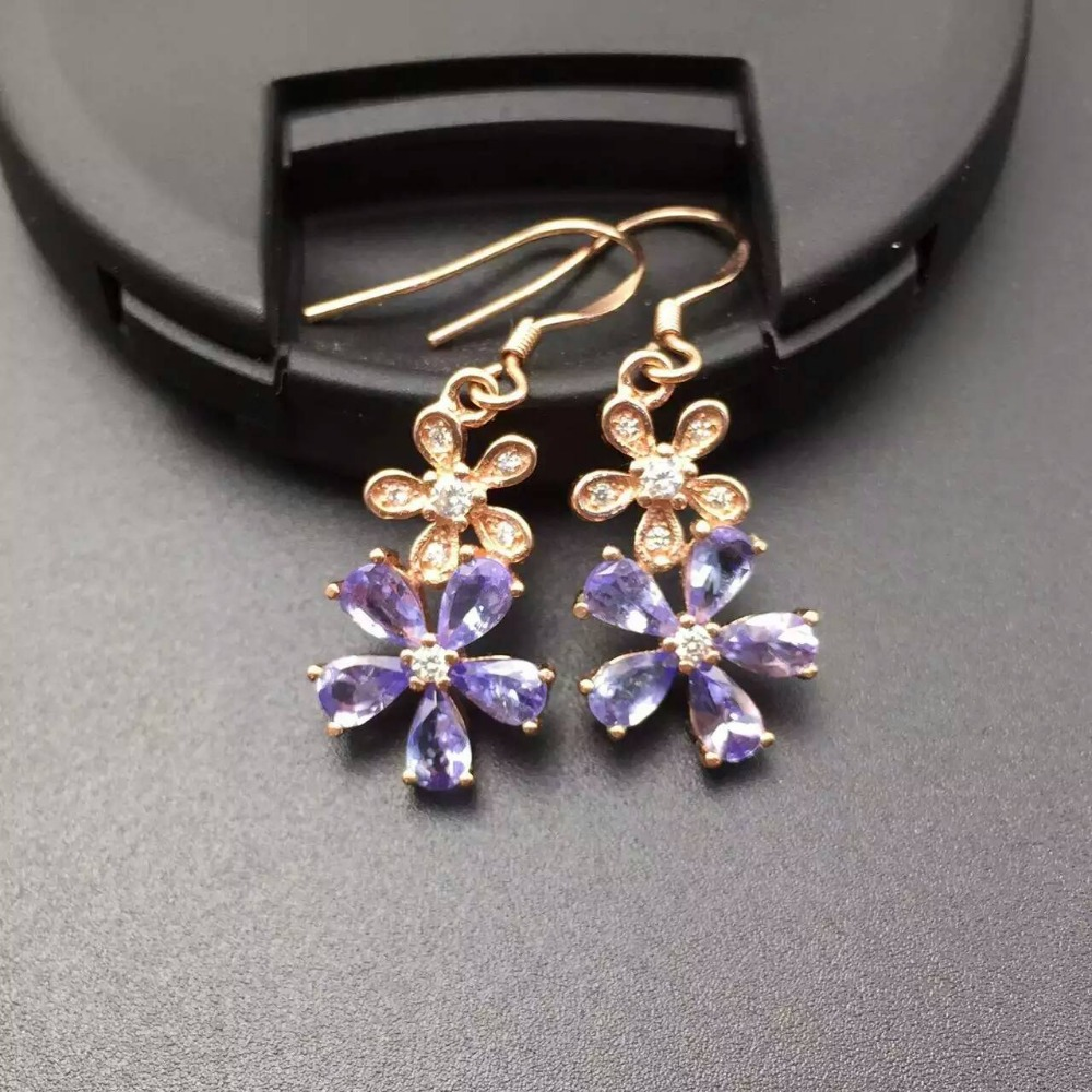 Natural Blue Tanzanite Drop Earrings 925 Silver Natural Gemstone Earring  Women Elegant Fashion Flower Drop Earrings