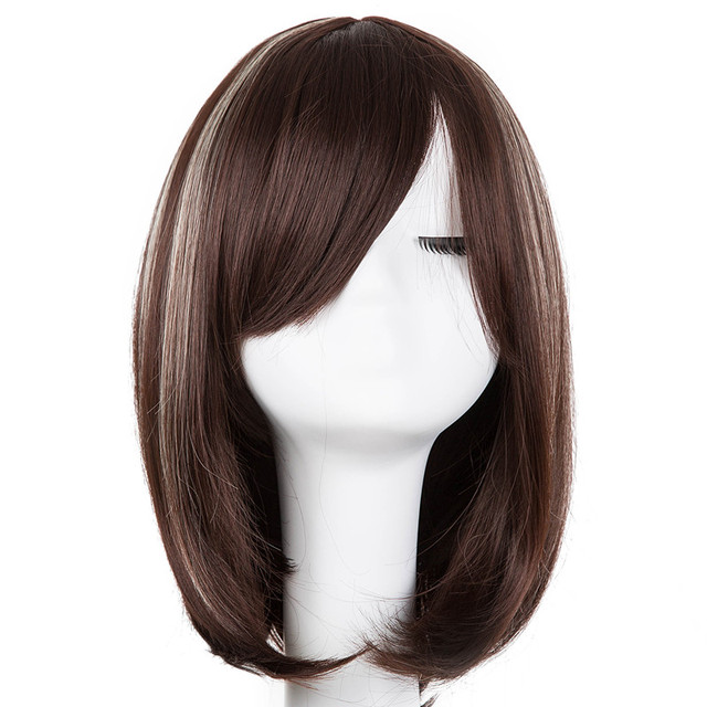Brown Wig Fei-Show Synthetic Heat Resistant Fiber Middle Part Line With Bangs  Hairpieces Short Wavy Picture Color Hair Peruca f754aa5a00dd
