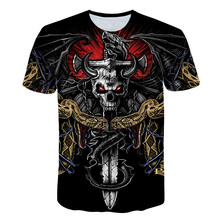 Brand summer 3D printed skull T shirt male short sleeve black funny bull head rock dragon streetwear anime mens