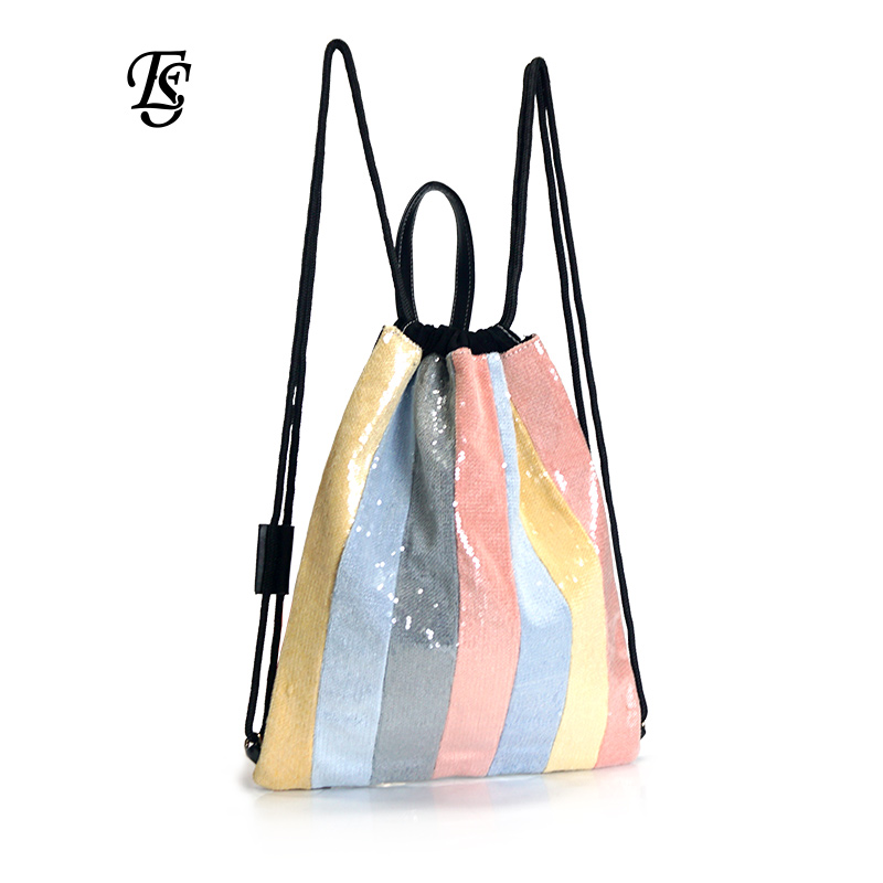E SHUNFA brand new arrival rainbow female backpack fashion beads multicolor casual INS hot sale rope