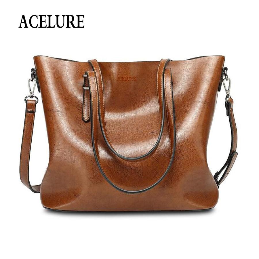 ACELURE las mujeres bolsa de hombro de las mujeres de la moda bolsos de cuero de cera de gran capacidad bolso casuales de la Pu de cuero de las mujeres bolso de mensajero