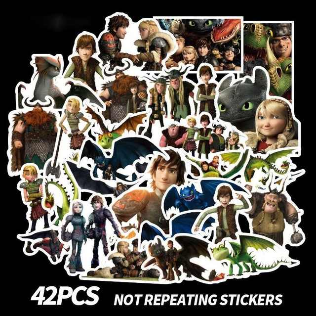 43pc How To Train Your Dragon Night Fury Cartoon Toothless Scrapbooking Album Luggage Phone Wall Guitar Stickers Party Decor Toy