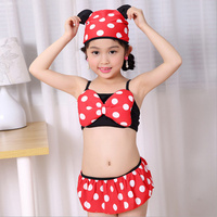 2016 Swimsuit Girl Toddler Bathing Suits Bikinis 3 Pieces Kids Swimwear Minnie Spa Clothes Swimming Clothing