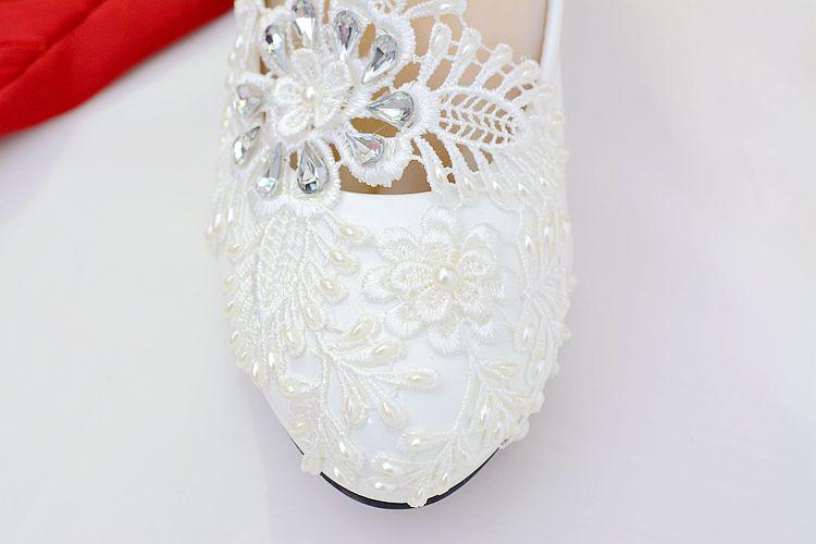 8cm À Perles Femmes Cm Pompe Taille Bout 8 37 De Heels Talons Pompes Bal Partie Blanc Pointu Chaussures Pour Dentelle Robe Zz5n6wqH8
