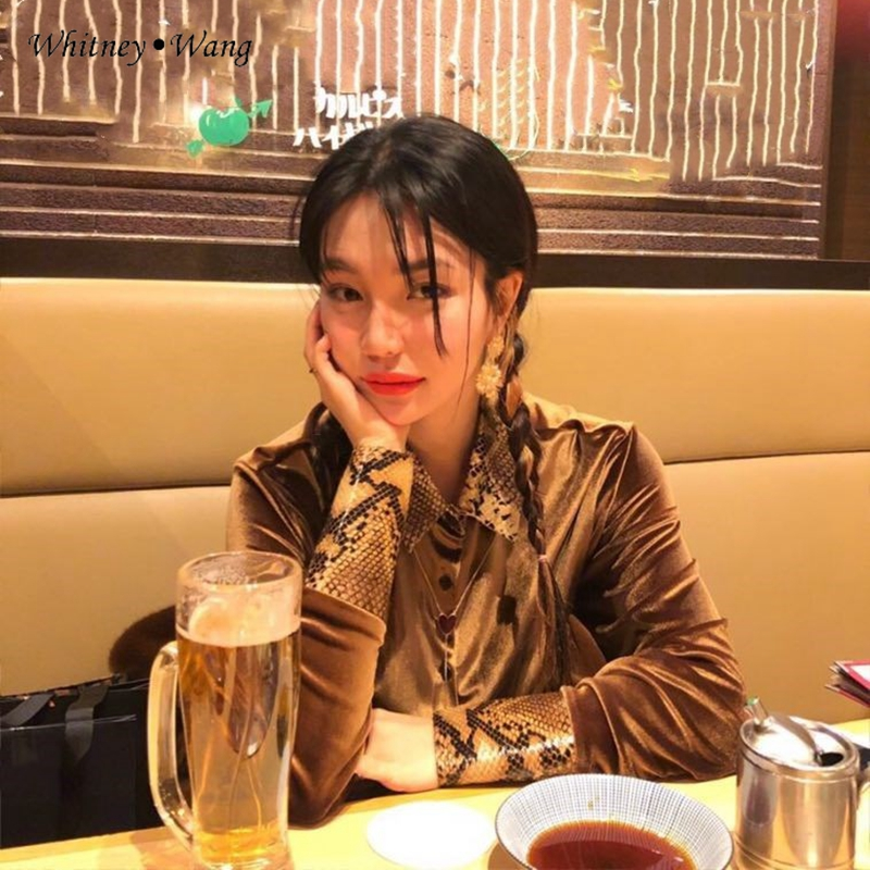 2019 champagne Vintage Velours Mode Style Femmes Léopard Patchwork Blusas Lady Shirt Beige Automne Office Tops Printemps Whitney Wang Blouse W2IYEeDH9