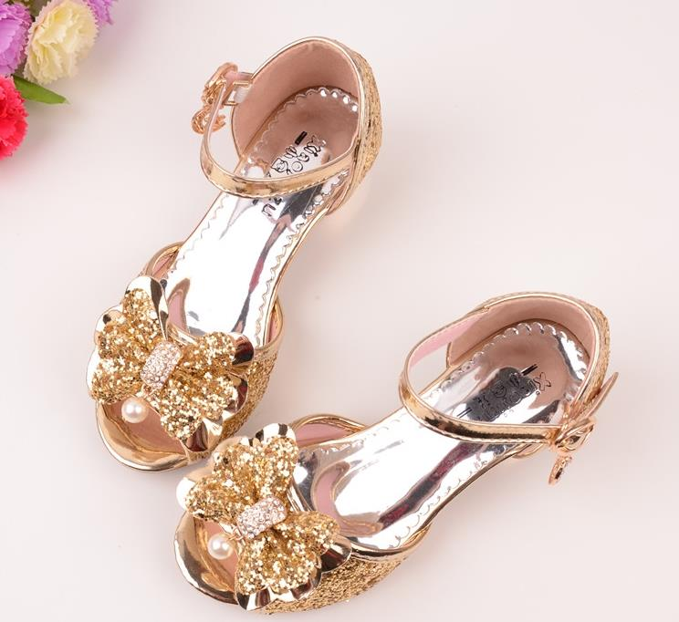 24abc71cc4de 2018 New Kids Girls Leather Bowtie Party Children Princess Sandals Girls  Wedding Shoes High Heels Sandals Shoes-in Sandals from Mother   Kids on ...