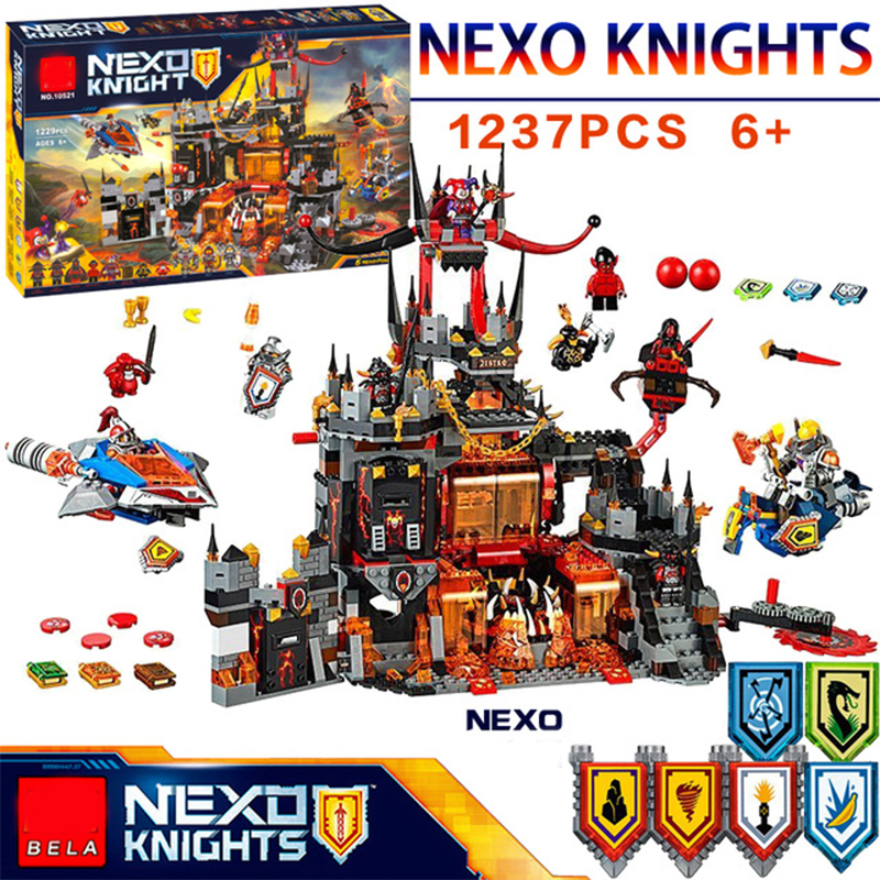 1244 Pcs Nexoees knight Axl Jestros Volcano Lair Combination narve Building Blocks Kits Toys Figures Compatible Nexus Legoe Gift lepin nexo knights jestros volcano lair combination marvel building blocks kits toys compatible legoings nexus legoings