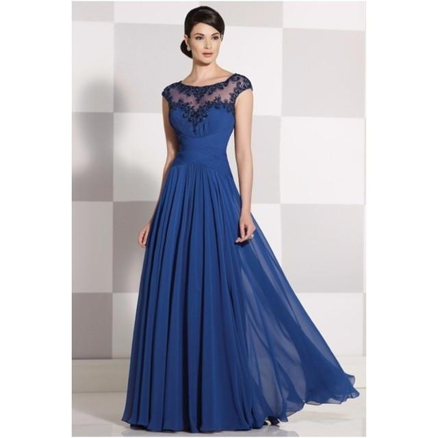 Moda Elegante A-Line do Assoalho-Comprimento Mãe Da Noiva Vestidos Cap Mangas Apliques Veja Throug Mulheres Vestidos Mãe Vestidos de Noite Vestidos