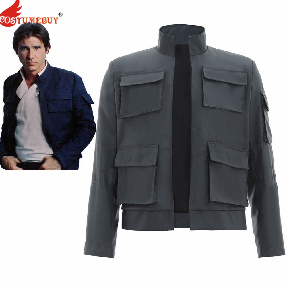 Costumebuy Star Wars Empire Strikes Back Han Solo Cosplay Adult Men's Long Sleeve Coat Blue Jacket Costume Tops Custom Made T115