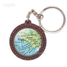 Creative Naples and Italy Vintage Map Pattern Key Ring Wooden Chain Glass Convex Dome Unisex
