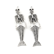 2pcs/lots Vintage Mermaid Body Skull Skeleton Shaped Pendants Necklaces & For Jewelry Making DIY Holloween Charms A-494