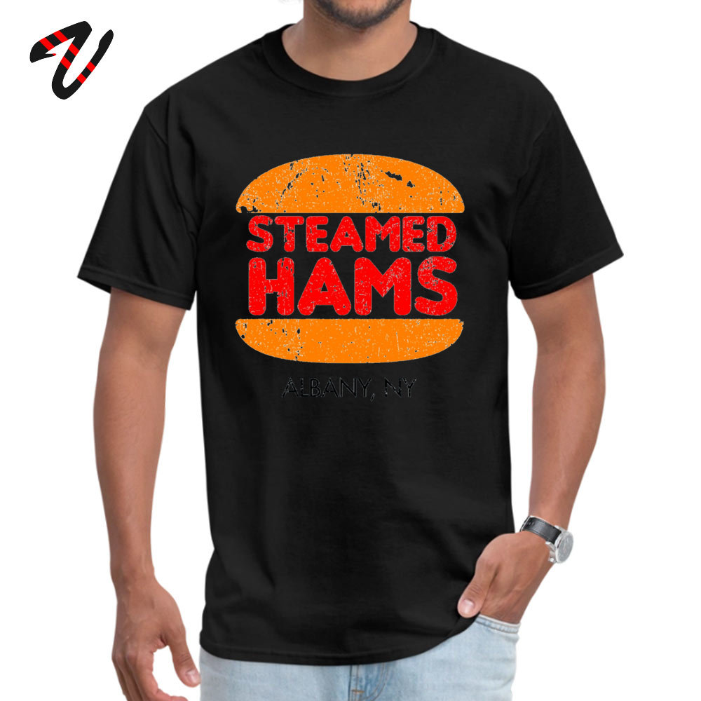 Brand New Men's Tops & Tees Steamed Hams Albany Printing Top T-shirts Pure Cotton Short Sleeve Casual Sweatshirts Round Neck Steamed Hams Albany16529 black