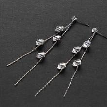 925 Sterling silver Stud earrings  Long ears line More than drill Women fashion jewelry