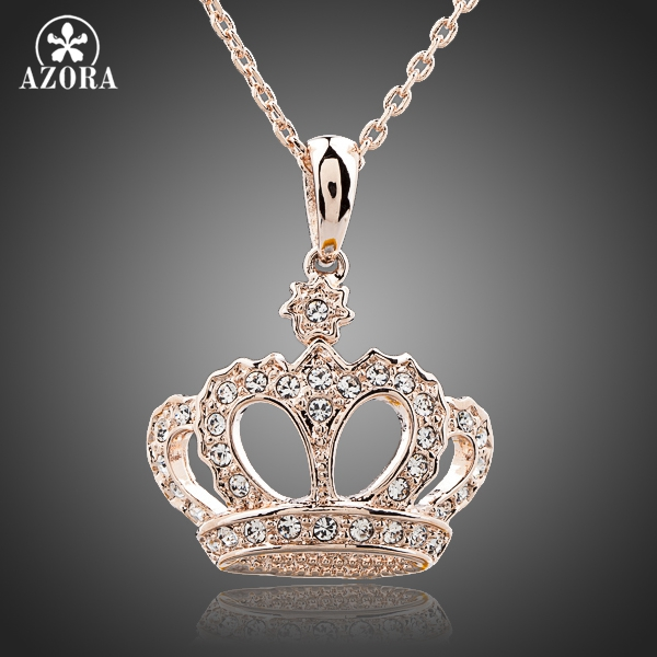 AZORA Queens Crown Rose Gold Color Stellux Austrian Crystal Jewelry Pendant Necklace TN0095