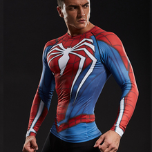Raglan Sleeve Spiderman 3D Printed T shirts Men Compression Shirts Gym tshirts Tops For Male Fitness BodyBuilding Clothing