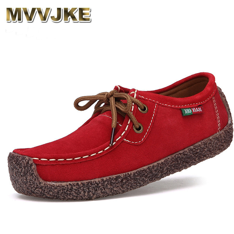 MVVJKE New Fashion Woman Casual leather Shoes Wild Lace-up Women Flats Warm Comfortable Concise Woman Shoes Breathable Female Sh beautyfeet women shoes female genuine leather lace up casual shoes woman flats white shoes candy color breathable ladies shoes