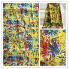 New Summer Print 100%Silk Chiffon Fabric For Women Dress 140cm Wide 6Momme Thin Georgette Fashion cloth DIY Sewing DSF21