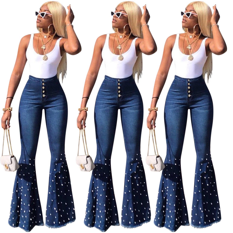 Flared Jeans High-Elastic Cotton Fashion Women's Hot Boy Dark Diamond Style Skinny