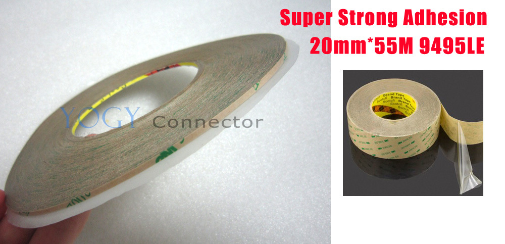 1x 20mm*55M 3M 9495LE 300LSE Double Sided Sticky Tape for Nameplate LCD Frame Jointing Low Surface Energy Plastic 150mm 55m 300lse pet ultra strong adhesion double sided sticky tape for electronics touch panel nameplate frame display assemble