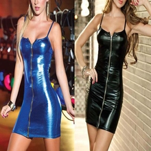 Leather Wet Look Mini Black Straps Clubwear Bodycon