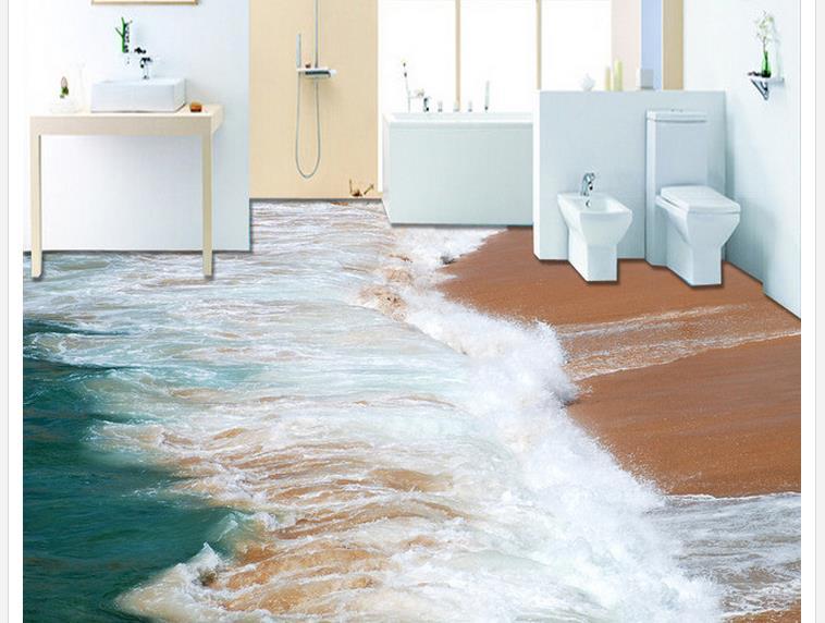 3d floor painting wallpaper surf beach 3d floor wallpaper - Waterproof floor paint for bathrooms ...