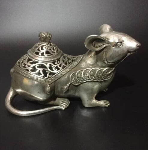 Collection Archaize Tibet Silver Copper Carved Mouse Animal Statue Incense Burner Censer
