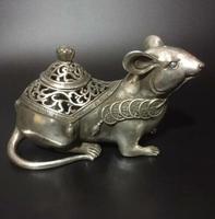 Koleksiyonu Archaize Tibet Gümüş Bakır Oyma Fare Hayvan Heykeli Tütsü Burner Buhurluk