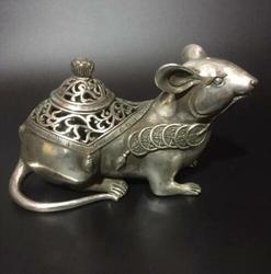 Sammlung Archaize Tibet Silber Kupfer Geschnitzte Maus Tier Statue Weihrauch Brenner Räuchergefäß