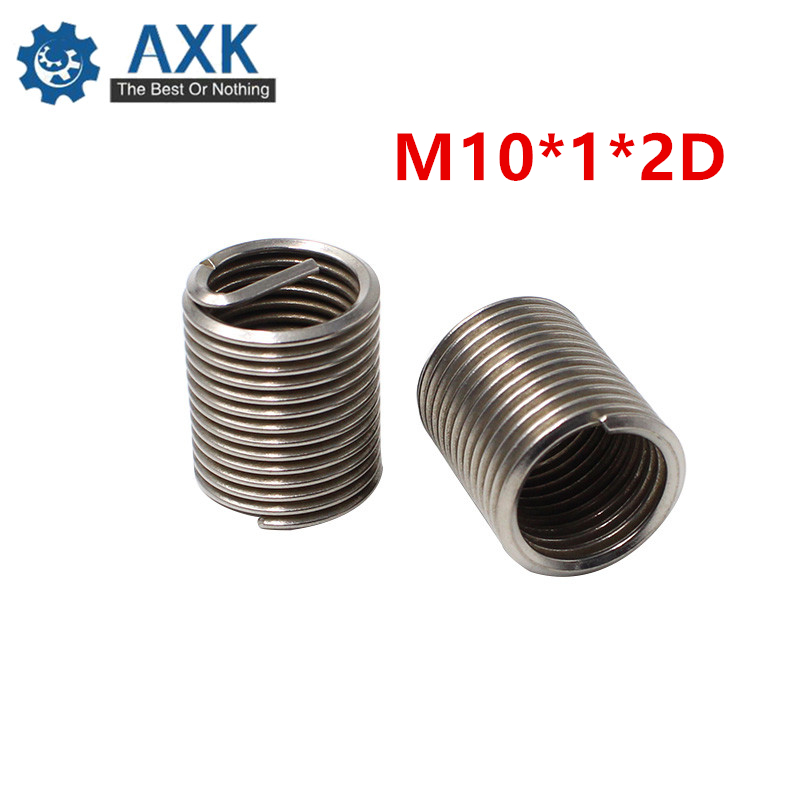 50pcs M10*1*2D Wire Thread Insert Stainless Steel 304 Wire Screw Sleeve, M10 Screw Bushing Helicoil Wire Thread Repair Inserts