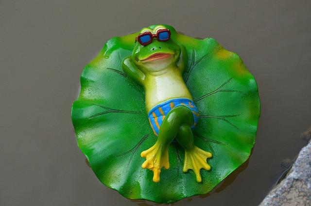 garden frog statue. Floating Garden Supply Resin Lotus Leaf Frog Statue Home Animal Figurine Model Decoration Ornament Creative I