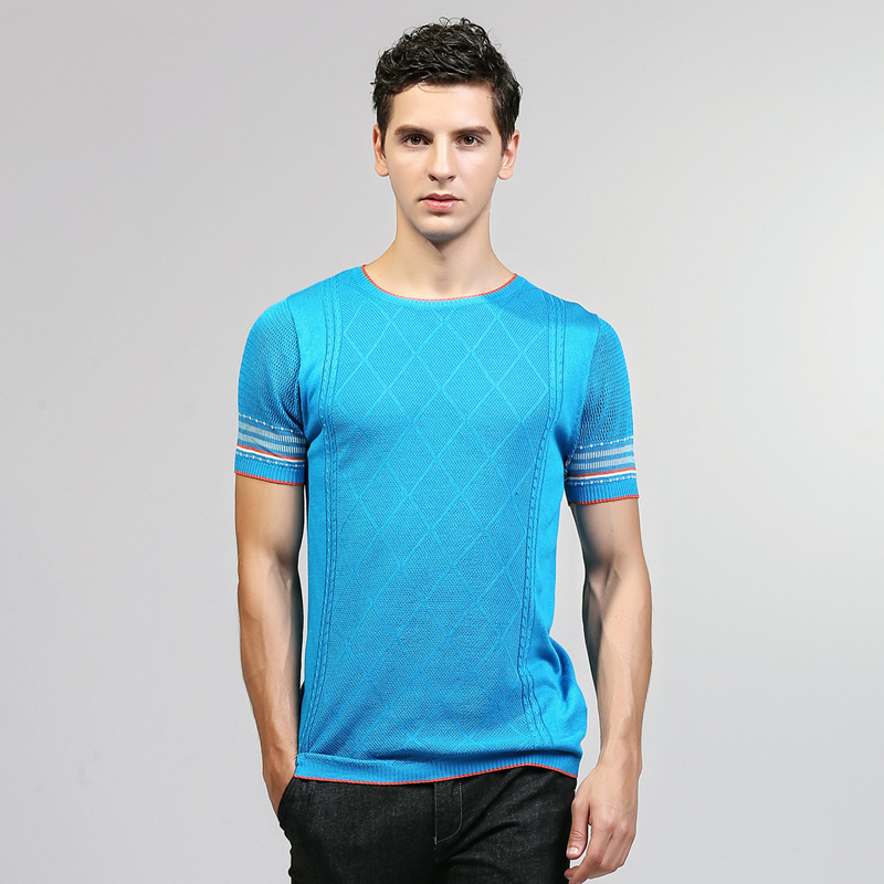 2018 New Arrival Man Summer Casual Slim Fit Thin O-Neck Short Sleeve Knitted Sweater Male Tops High Quality Mens Clothing