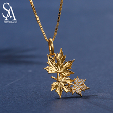 SA SILVERAGE Real 925 Sterling Silver Yellow Gold Color Maple Leaf Pendant Necklaces Woman 925 Silver Zirconia Gold Necklace