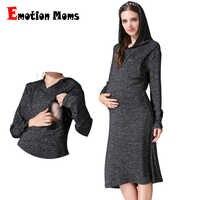 Émotion mamans vêtements de maternité robe de grossesse mode robe d'allaitement pour les femmes enceintes vêtements doux automne robe d'allaitement