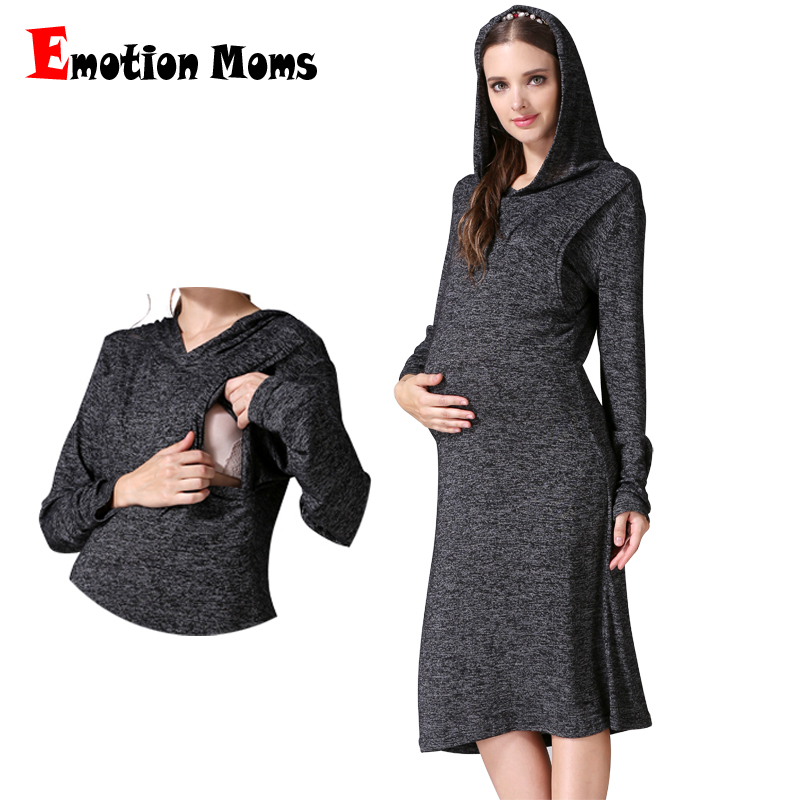 Emotion Moms Maternity Clothes Pregnancy Dress Fashion Breastfeeding Dress For Pregnant Women Clothing Soft Autumn Nursing Dress