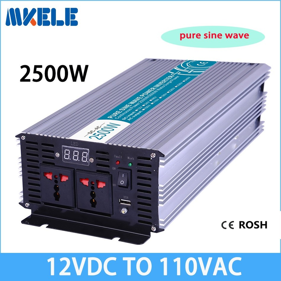 цена на MKP2500-121 high quality off grid power inverter 2500w Pure Sine Wave 12v to 110vac voltage converter,solar inverter LED Displa