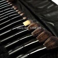 32 pçs/set Profissional Pêlo de cabra Pincéis de Maquiagem Maquillage Pinceis Sombra Blending Pincel De Maquiagem Ferramentas Saco De Couro Rolo