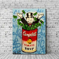 Alec Monopolies Tomato Soup Canvas Painting Print Living Room Home Decor Modern Wall Art Oil Painting Poster Pictures Artwork HD