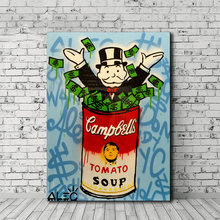 Alec Monopolies Tomato Soup Canvas Painting Print Living Room Home Decor Modern Wall Art Oil Poster Pictures Artwork HD