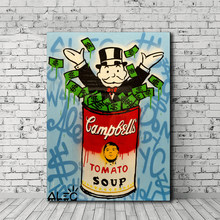 Alec Monopolies Tomato Soup Canvas Painting Print Living Room Home Decor Modern Wall Art Oil Painting Poster Pictures Artwork HD(China)
