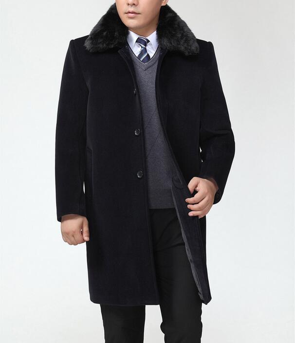 Winter quinquagenarian wool coats mens plus velvet thickening fur collar medium - long overcoat cashmere trench coat men grey