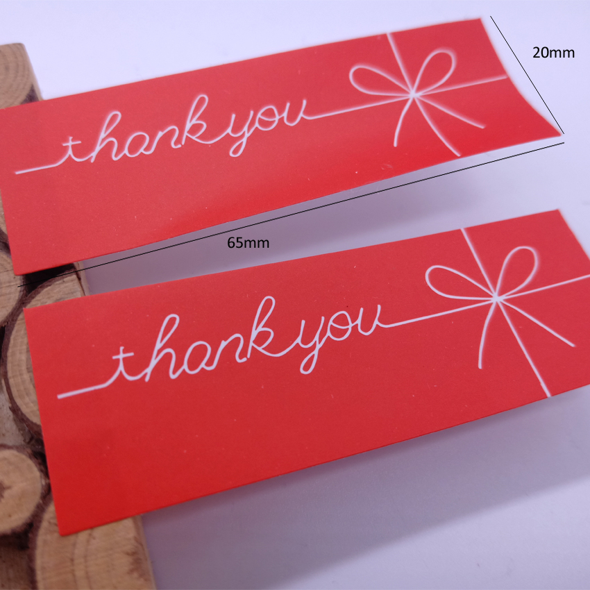 Купить с кэшбэком 150pcs/Lot Red Thank You Bow Rectangle Handmade Seal Sticker Kraft Paper Cake Packaging Valentine's Day Gift Stationery Sticker