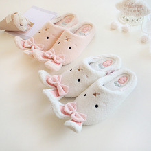 Cute Rabbit Animal Pattern Cotton Home Slippers Women Indoor Shoes For Bedroom Adult Guest House Warm Winter Soft Bottom Flats